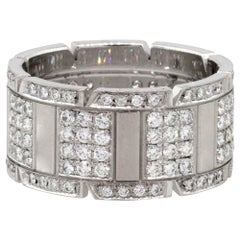 Cartier 18 Karat White Gold Tank Francaise Wide Aftermarket Diamond Ring