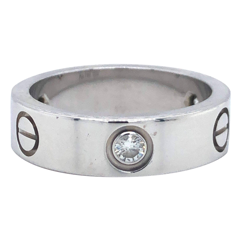 Cartier 18 Karat White Gold Three Diamond Love Ring Band