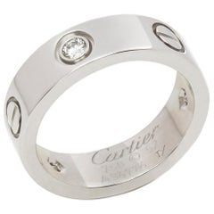 Cartier 18 Karat White Gold Three Round Brilliant Cut Diamond Love Band Ring