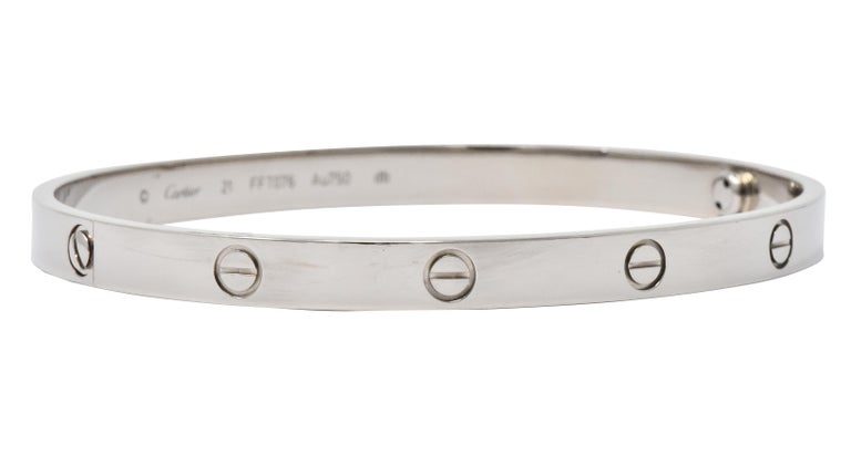 Contemporary Cartier 18 Karat White Gold Unisex Love Bangle Bracelet For Sale