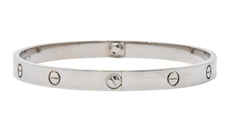 Cartier 18 Karat White Gold Unisex Love Bangle Bracelet In Excellent Condition For Sale In Philadelphia, PA
