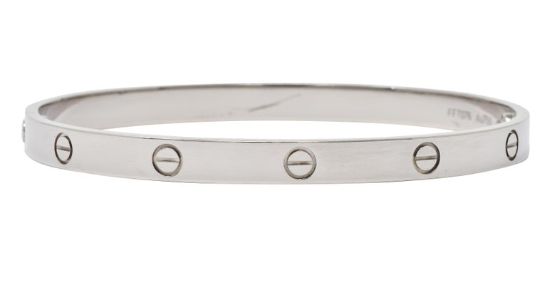 Women's or Men's Cartier 18 Karat White Gold Unisex Love Bangle Bracelet For Sale