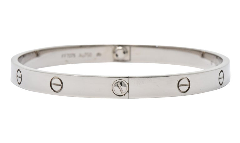 Cartier 18 Karat White Gold Unisex Love Bangle Bracelet For Sale 1