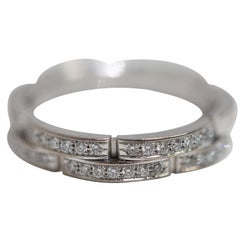 Cartier 18 Karat White Gold with Diamonds Maillon Panthere Gents Ring