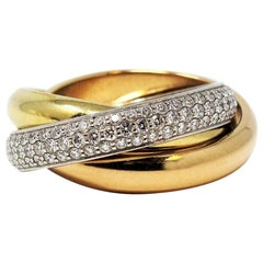 Cartier 18 Karat White, Yellow and Pink Gold Pave Diamond Trinity Classic Ring