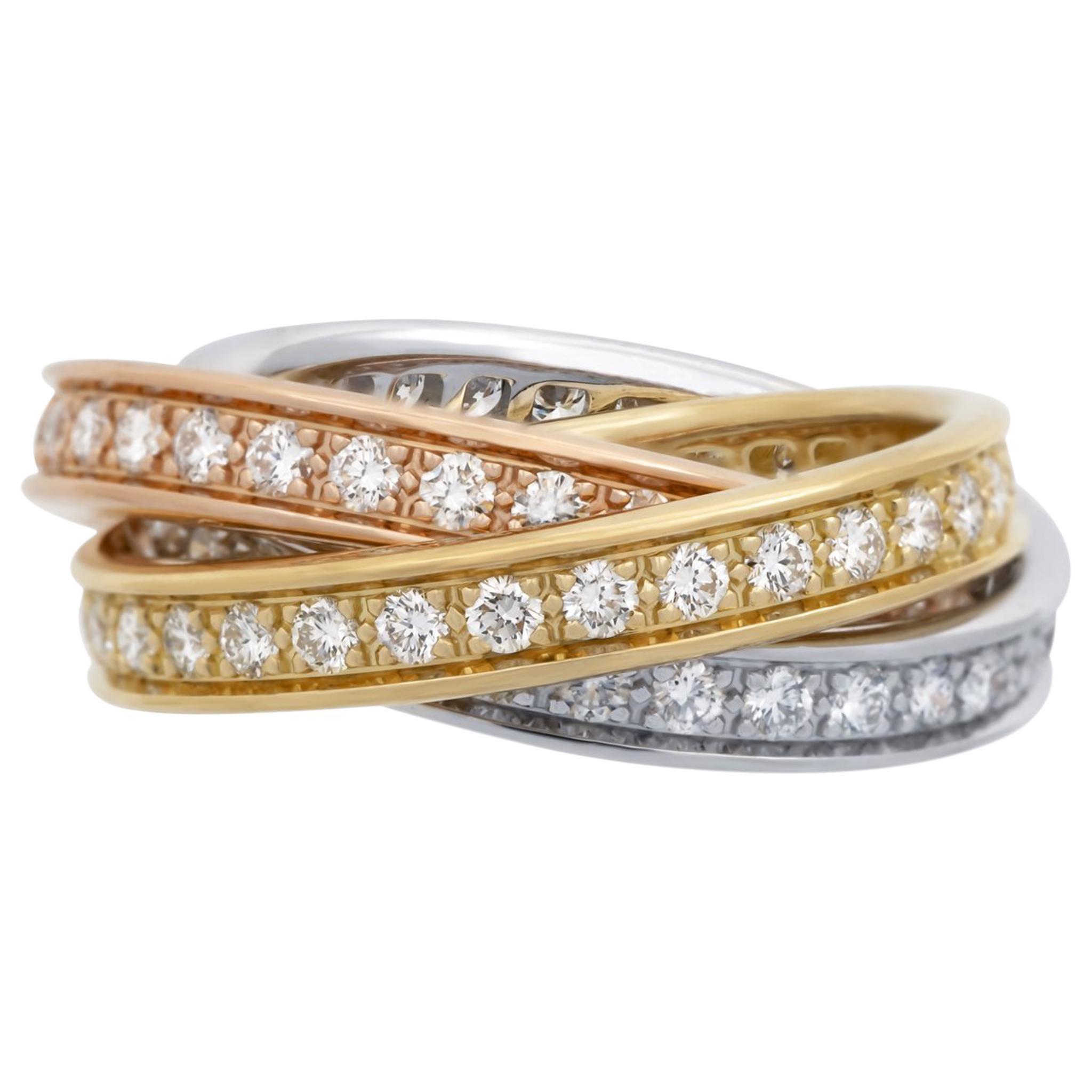 Cartier 18 Karat White, Yellow and Rose Gold Diamond Trinity Ring
