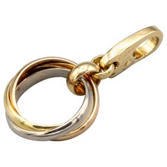 Cartier 18 Karat White Yellow Rose Gold Trinity Ring Charm Pendant
