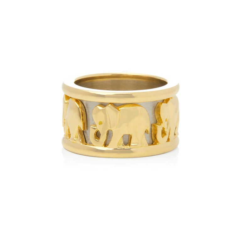 Modern Cartier 18 Karat Yellow and White Gold Pharaon Elephant Band Ring
