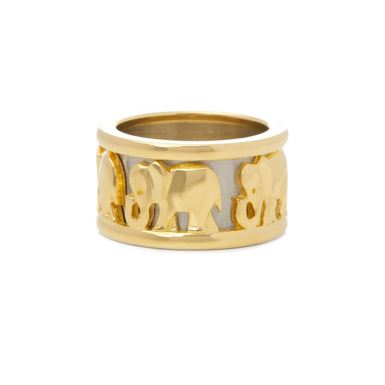 Cartier 18 Karat Yellow and White Gold Pharaon Elephant Band Ring In Good Condition In Bishop's Stortford, Hertfordshire