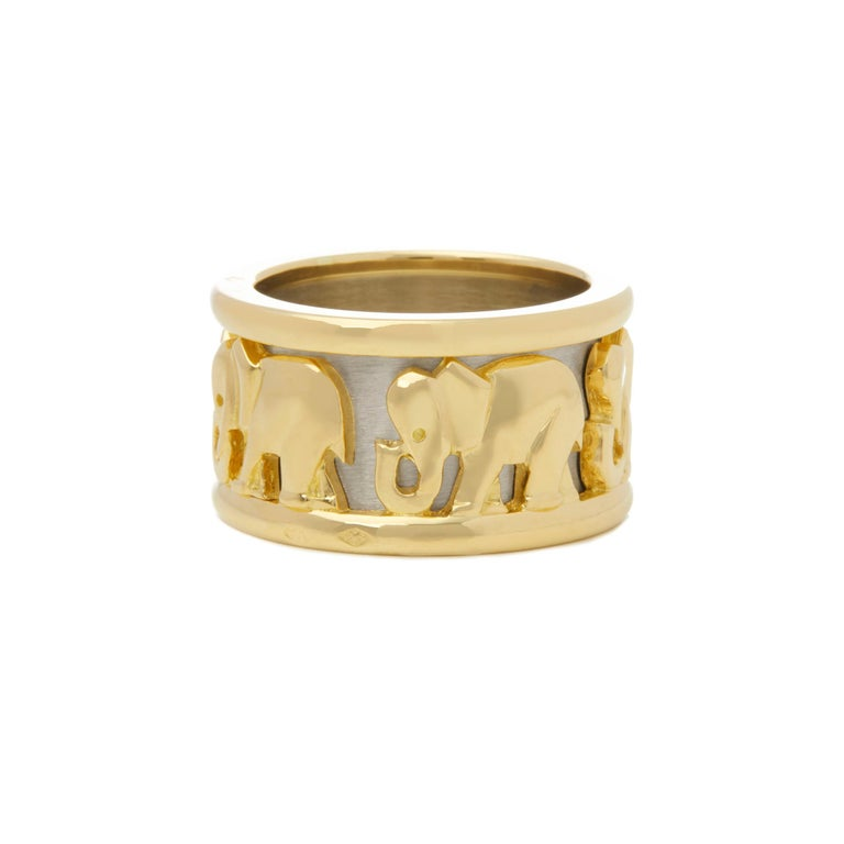 Women's or Men's Cartier 18 Karat Yellow and White Gold Pharaon Elephant Band Ring