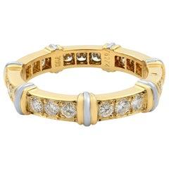 Cartier 18 Karat Yellow and White Two-Tone Gold Diamond Eternity Band 0.63 Carat