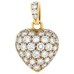 Cartier 18 Karat Yellow Gold 1.30 Carat Full Diamond Pave Heart Pendant