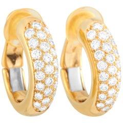Cartier 18 Karat Yellow Gold 1.50 Carat Diamond Hoop Earrings