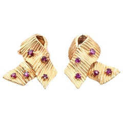 Cartier 18 Karat Yellow Gold 1950s Rare Ruby Omega Clip Back Earrings
