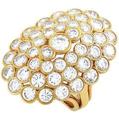 Cartier 18 Karat Yellow Gold 9.00 Carat Diamond Cluster Marquise Ring