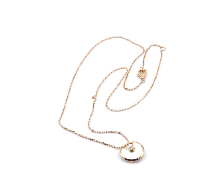 Round Cut Cartier 18 Karat Yellow Gold Amulette De Cartier Diamond and Mother of Pearl Nec For Sale