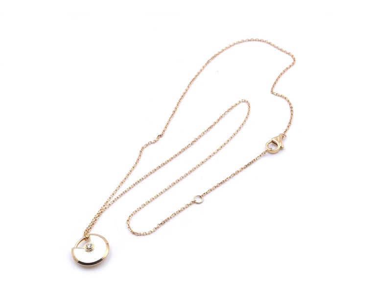 Cartier 18 Karat Yellow Gold Amulette De Cartier Diamond and Mother of Pearl Nec In Excellent Condition For Sale In Scottsdale, AZ