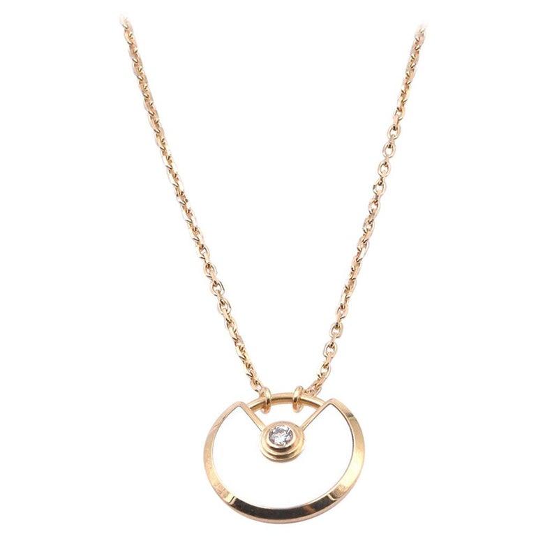 Cartier 18 Karat Yellow Gold Amulette De Cartier Diamond and Mother of Pearl Nec For Sale