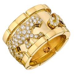 """Cartier 18 Karat Yellow Gold and Diamond """"Mahango"""" Panther Band Ring"""
