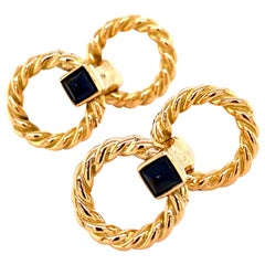 Cartier 18 Karat Yellow Gold and Sapphire Stirrup Cufflinks