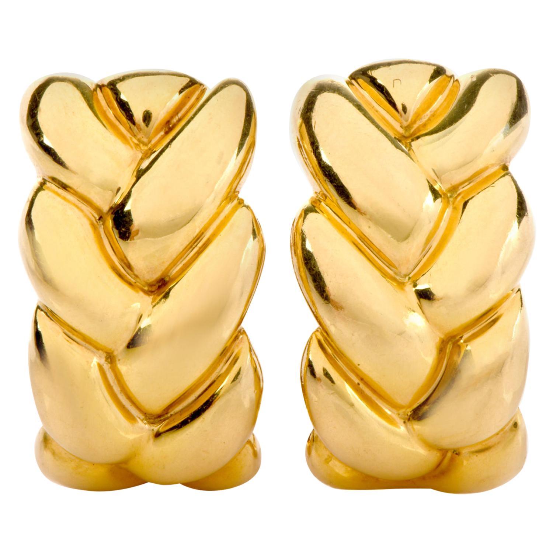 Cartier 18 Karat Yellow Gold Braided Clip-On Earrings