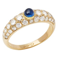 Cartier 18 Karat Yellow Gold Cabochon Sapphire and Diamond Ring
