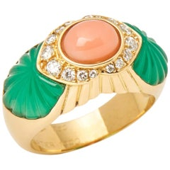 Cartier 18 Karat Yellow Gold Chrysoprase, Coral and Diamond Ring