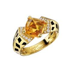 "Cartier 18 Karat Yellow Gold, Citrine and Diamond ""Panthère"" Ring"