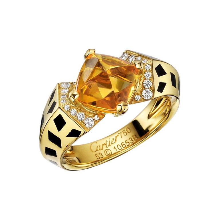 """Cartier 18 Karat Yellow Gold, Citrine and Diamond """"Panthère"""" Ring For Sale"""