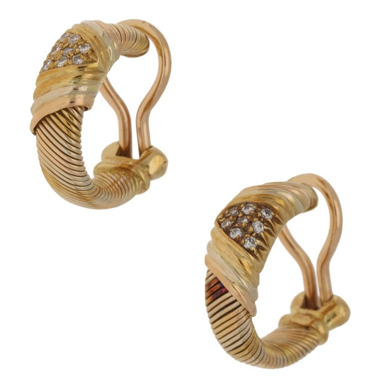 Cartier 18 Karat Yellow Gold Clip on Hoop Earrings