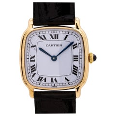 Cartier 18 Karat Yellow Gold Cushion Manual Wind, circa 1970s
