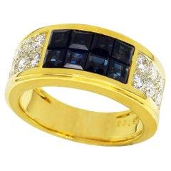 Cartier 18 Karat Yellow Gold Diabolo Invisible Set Blue Sapphire Diamond Ring