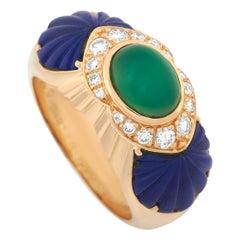 Cartier 18 Karat Yellow Gold Diamond, Chrysoprase and Lapis Ring