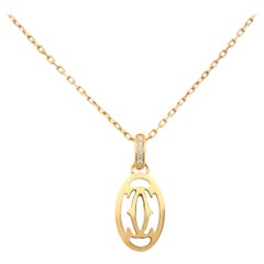 Cartier 18 Karat Yellow Gold Diamond Double C de Cartier Necklace