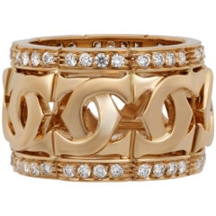 Cartier 18 Karat Yellow Gold Diamond Double C Ring