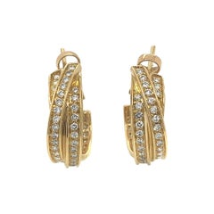 Cartier 18 Karat Yellow Gold Diamond Hoop Earrings