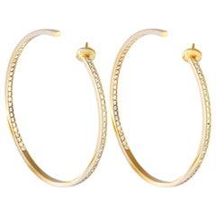 Cartier 18 Karat Yellow Gold Diamond Hoop Push Back Earrings