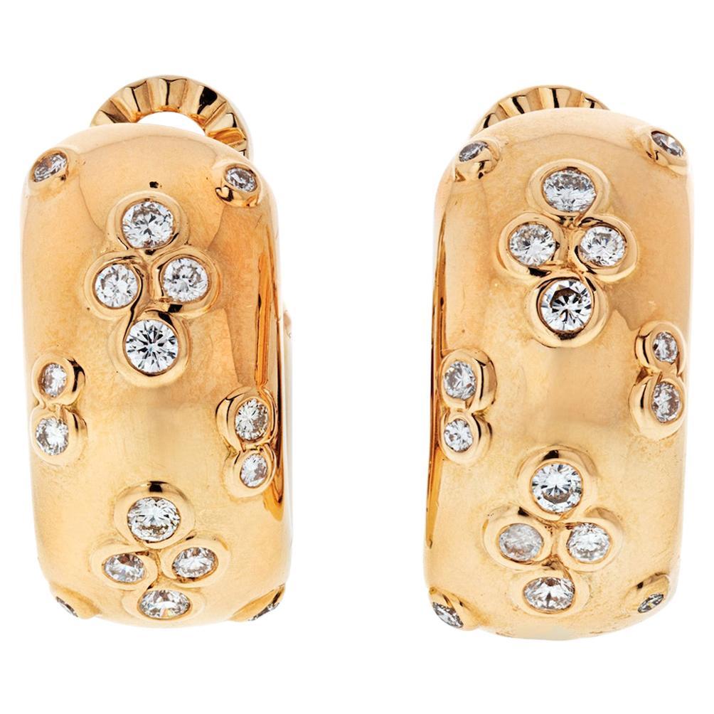 Cartier 18 Karat Yellow Gold Diamond Huggie Hoop Earrings
