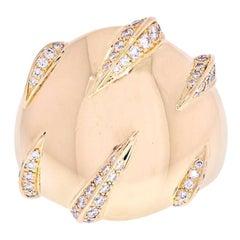 Cartier 18 Karat Yellow Gold Diamond Panthere Stripes Ring