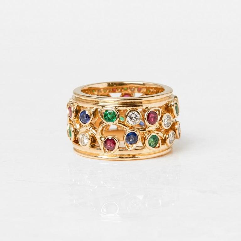 Round Cut Cartier 18 Karat Yellow Gold Diamond Sapphire Ruby Emerald Band Ring