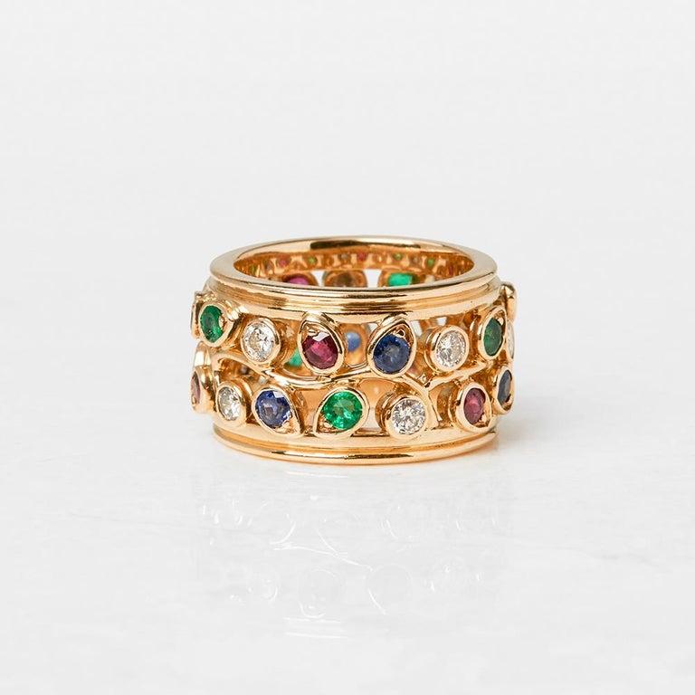 Cartier 18 Karat Yellow Gold Diamond Sapphire Ruby Emerald Band Ring In Excellent Condition In Bishop's Stortford, Hertfordshire
