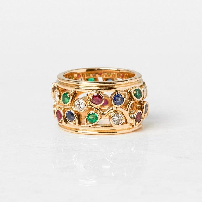 Women's Cartier 18 Karat Yellow Gold Diamond Sapphire Ruby Emerald Band Ring