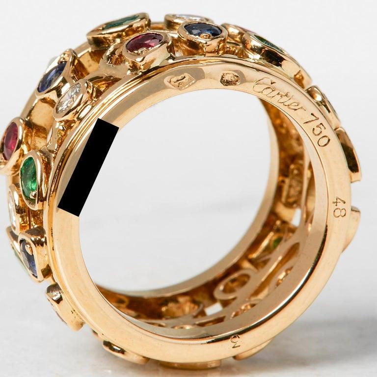 Cartier 18 Karat Yellow Gold Diamond Sapphire Ruby Emerald Band Ring 1