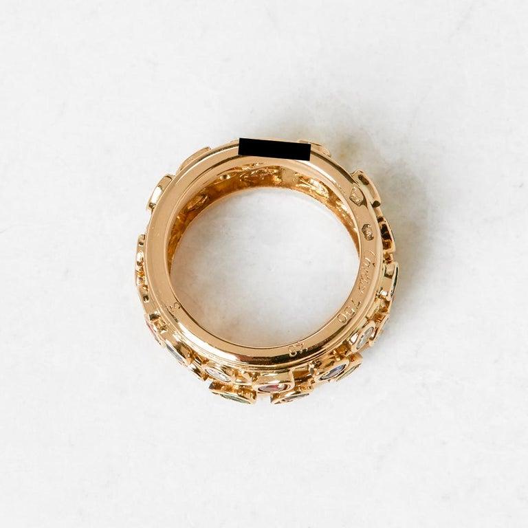 Cartier 18 Karat Yellow Gold Diamond Sapphire Ruby Emerald Band Ring 2