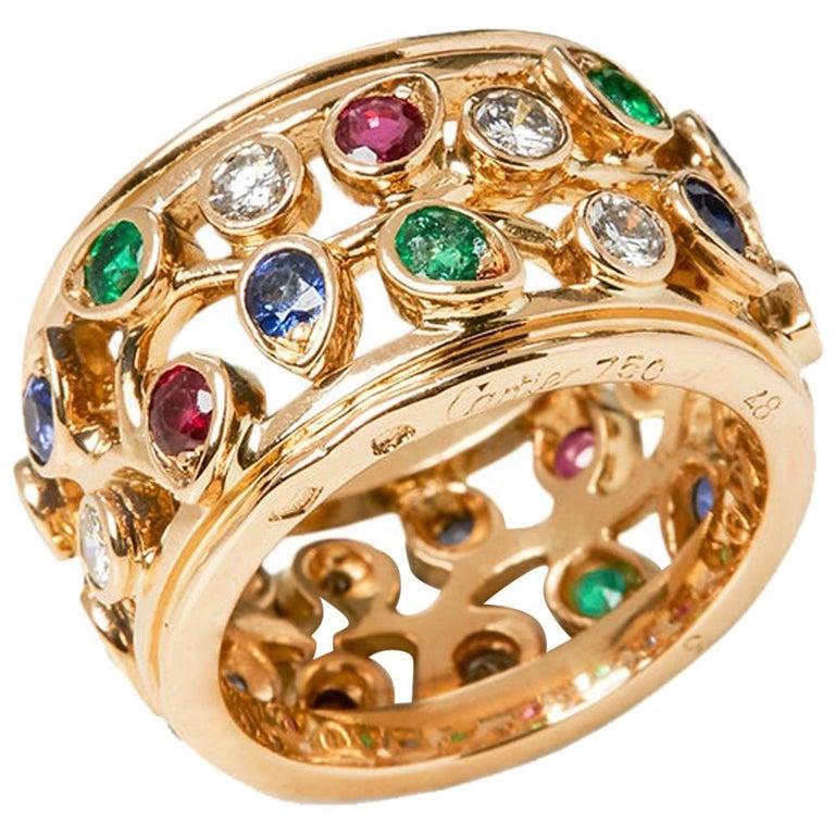 Cartier 18 Karat Yellow Gold Diamond Sapphire Ruby Emerald Band Ring