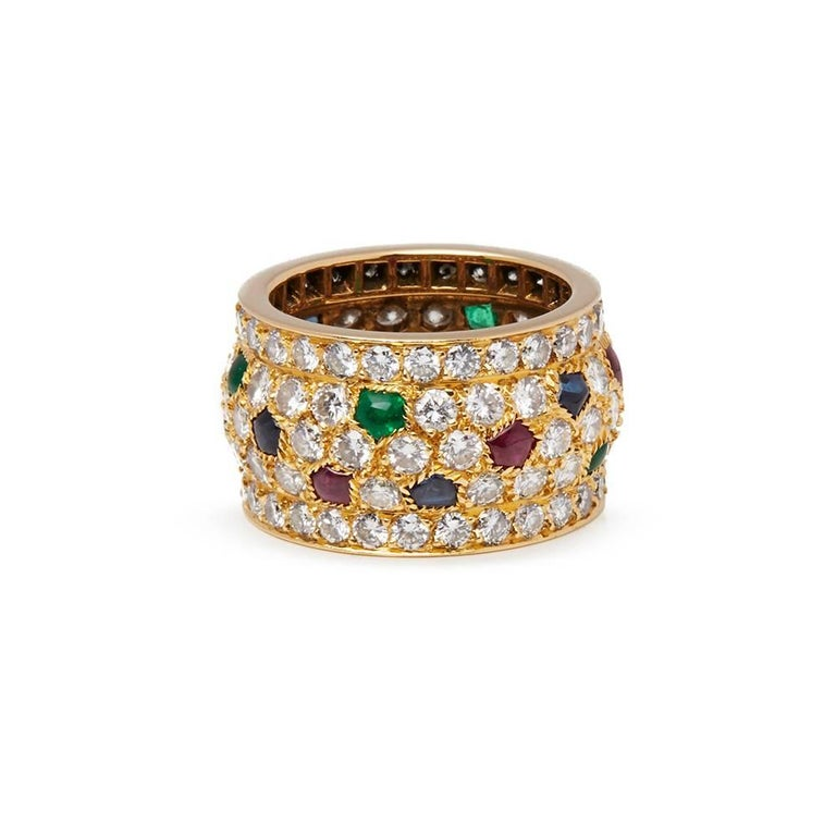 Cartier 18 Karat Yellow Gold Diamond Sapphire Ruby Emerald Nigeria Ring For Sale 1