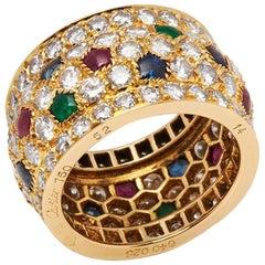 Cartier 18 Karat Yellow Gold Diamond Sapphire Ruby Emerald Nigeria Ring