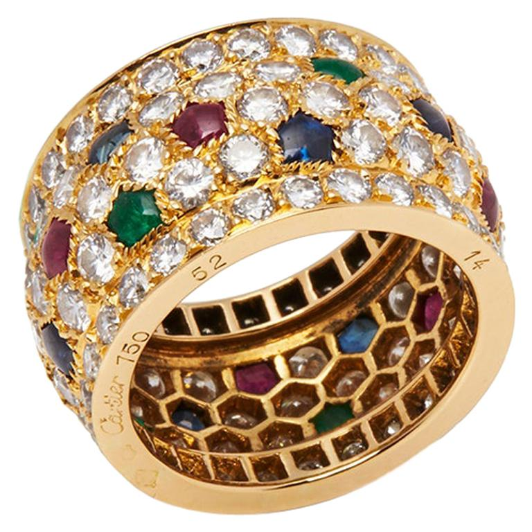 Cartier 18 Karat Yellow Gold Diamond Sapphire Ruby Emerald Nigeria Ring For Sale