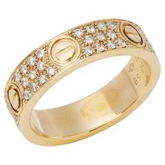 Cartier 18 Karat Yellow Gold Diamond Set Love Ring