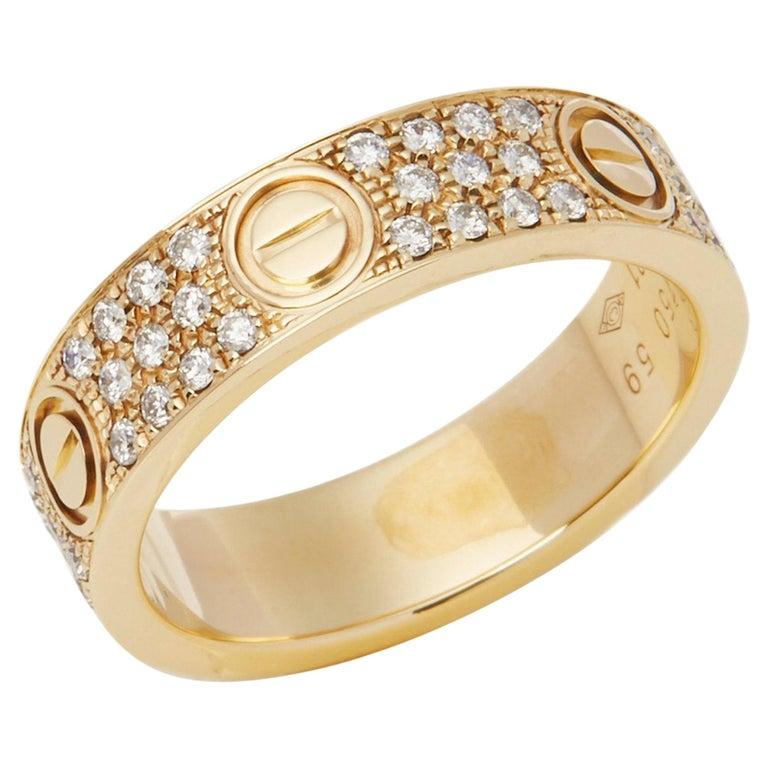 Cartier 18 Karat Yellow Gold Diamond Set Love Ring For Sale